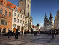 Prague old city travel tourists on the town square of czech republic the historical core of the is listed in the unesco world Royalty Free Stock Photography