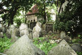 Prague old jewish cemetery tombstones in in Royalty Free Stock Photo