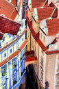 Prague old town aerial view over medieval houses of the of czech republic Royalty Free Stock Photo