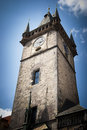 Prague old town hall tower historic building on square in Royalty Free Stock Images