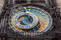 Prague orloj the astronomical clock situated on the wall of the old town city hall in the center section astronomical dial dates Royalty Free Stock Image