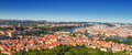 Prague panorama beautiful view of the cityscape of the presidential palace and the vltava river and the famous charles bridge in Stock Images
