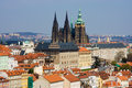 Prague panorama with St. Vitus Cathedral Stock Images