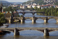 Prague - Panoramic view and Charles Bridge Royalty Free Stock Photography