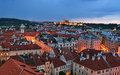 Prague roofs by night in czech republic Stock Photography