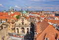 Prague roofs and street in czech republic Royalty Free Stock Photography