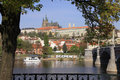 Prague's gothic Castle above River Vltava Stock Photography