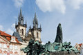 Prague sculpture on the old town square Royalty Free Stock Images