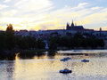 Prague skyline silhouette czech republic in the evening Stock Photo