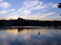 Prague skyline silhouette czech republic in the evening Stock Photography