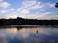 Prague skyline silhouette czech republic in the evening Stock Photography