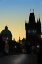 Prague spires in the sunset light, silhouette Royalty Free Stock Image