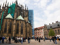 Prague st vitus cathedral many visitors around the old in the center of czech republic Stock Photography
