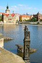 Prague statue of knight brunswick about to the charles bridge Stock Images