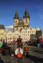 Prague top tourism traveling one beautiful afternoon at the old town square in czech republic in the background is one of the most Royalty Free Stock Photography