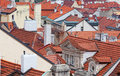Prague top view on tile red roofs Royalty Free Stock Image
