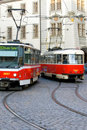 Prague Trolley Cars Stock Photo