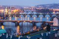 Prague twilight view bridges vltava Stock Image