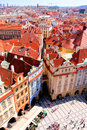 Prague view aerial over old town square czech republic Stock Image