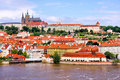 Prague view of historic old town and castle czech republic Stock Photos