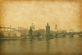 Prague view near charles bridge in czech republic vintage paper Royalty Free Stock Images