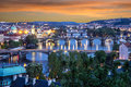 Prague view of the old town architecture and charles brid sunset bridge over vltava river czech republic Royalty Free Stock Image