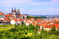 Prague view over historic center of with castle czech republic Stock Images