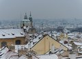 Prague view winter snow rooftop Stock Image