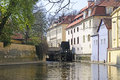 Prague waterwheel on the banks of the river vltava in czech republic Royalty Free Stock Photography