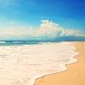 Praia em um console tropical efeito retro Fotos de Stock