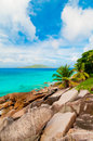 Praia tropical seychelles Fotos de Stock Royalty Free
