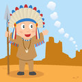 Prairie indian and smoke signal a cartoon american or native boy holding a spear looking at signals in a desert landscape Stock Images