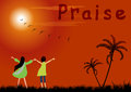 Praise boy and girl the lord at sunset Royalty Free Stock Images