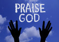 Praise god clouds makes the word in the sky Royalty Free Stock Photography