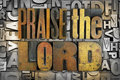 Praise the lord words written in vintage letterpress type Royalty Free Stock Images