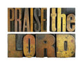 Praise the lord words written in vintage letterpress type Stock Images
