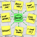 Praise positive reviews and comments on sticky notes an array of yellow with words of commentary based someone s performance Royalty Free Stock Images