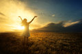 Praise at sunset Royalty Free Stock Photo