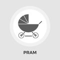 Pram vector flat icon Royalty Free Stock Photo