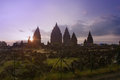 Prambanan hindu temple sunset in yogyakarta indonesia Stock Photos