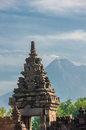Prambanan temple with Merapi volcano, Java, Indonesia Stock Photos