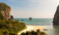 Pranang beach railay durin sunset considered one thailands most beautiful beaches Stock Image