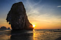 Pranang beach sunset krabi province thailand Stock Photos
