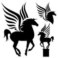 Prancing pegasus silhouette set black winged horses on white Royalty Free Stock Photography