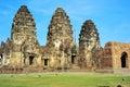 Prang sam yot temple the khmer in lopburi at night Royalty Free Stock Photography