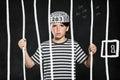 Prank boy in jail Royalty Free Stock Photo