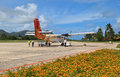 Praslin airport view Royalty Free Stock Photos