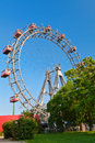 Prater a historic ferris wheel with red cabins in vienna austria Stock Images