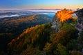 Pravcicka brana rock bridge monument in autumn colours. Czech national park Ceske Svycarsko, Bohemian Switzerland park, Czech Royalty Free Stock Photo