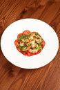 Prawn appetizer with tomatoes Stock Images
